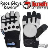 "LUSH Slide Gloves ""Race Glove Deluxe"" Downhill Skateboard Leather Kevlar Freeride S M L or XL longboard w/ Pucks"